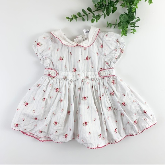 Gap Baby White Floral Fit & Flare Collared Dress